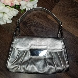 Express Metallic Silver Leather Purse